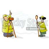 Male & Female Surveyors at Work with Leveling Instruments Clipart © djart #5196