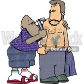 Ethnic Tattooer Applying a Permanent Decorative Tattoo to a Man's Upper Arm with a Tattoo Gun Clipart © djart #5197