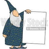 Old Wizard Holding a Blank Poster Board Sign Clipart © djart #5202