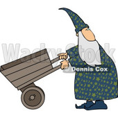 Wizard Pushing an Empty Wheelbarrow While Looking Over His Shoulder Clipart © Dennis Cox #5203
