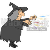 Evil Wicked Witch Casting a Magical Spell On Someone Clipart © djart #5205
