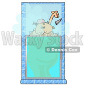 Big Fat Woman Taking a Hot Shower Clipart Illustration © Dennis Cox #5206
