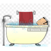 Middle-aged Man Taking a Bubble Bath Clipart Illustration © djart #5207