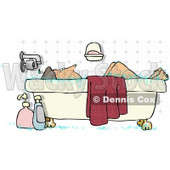 Middle-aged Woman Taking a Bubble Bath Clipart Illustration © djart #5208