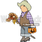 Boy Wearing Cowboy Halloween Costume with Stick Pony and Candy Bucket Clipart © Dennis Cox #5209