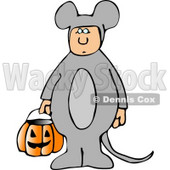 Kid Wearing Halloween Mouse Costume While Trick-or-treating with Candy Bucket Clipart © Dennis Cox #5210