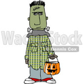 Boy Wearing Halloween Frankenstein Monster Costume While Trick-or-treating with Candy Bucket Clipart © djart #5211