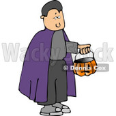 Boy Wearing Halloween Vampire Costume and Trick-or-treating with a Pumpkin Candy Bucket Clipart © djart #5212