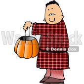 Boy Wearing Halloween Pajamas Costume While Trick-or-treating Clipart © djart #5217