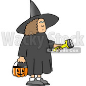 Girl Wearing Halloween Witch Costume While Trick-or-treating with a Candy Bucket and Flashlight Clipart © djart #5218