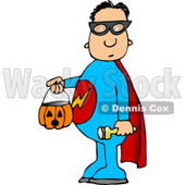 Boy Wearing Halloween Superhero Costume While Trick-or-treating Clipart © Dennis Cox #5220