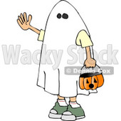 Boy Wearing Halloween Ghost Costume Clipart © Dennis Cox #5221