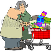 Husband and Wife Shopping Together for Christmas Presents at a Toy Store Clipart © Dennis Cox #5222