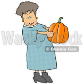 Woman Carrying an Uncarved Halloween Pumpkin Clipart © Dennis Cox #5223