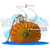 Humorous Man Sailing On an Oversized Pumpkin Sailboat Clipart © Dennis Cox #5227