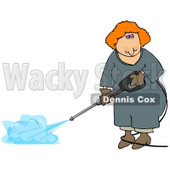 Woman Using a Pressure Washer Clipart © djart #5230