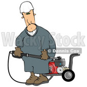Man with a Heavy Duty High Performance Gas Powered Water Pressure Washer Clipart © djart #5232