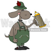 Humorous Anthropomorphic Dog Holding a Beer Stein While Celebrating Oktoberfest Clipart © djart #5234
