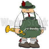 German Trumpet Player Celebrating Oktoberfest Clipart © djart #5238