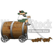 Humorous German Man Guiding Weiner Dogs Pulling an Oversized Wooden Beer Keg Wagon Clipart - Oktoberfest © Dennis Cox #5240