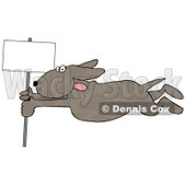 Dog Holding Onto a Blank Sign Pole While Being Blown Around in a Severe Tropical Wind Storm Clipart © Dennis Cox #5241