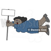 African American Woman Onto a Blank Sign Pole While Being Blown Around in a Severe Tropical Wind Storm Clipart © Dennis Cox #5243