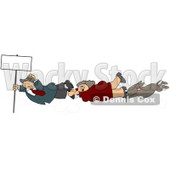 Woman, Man, and Dog Holding Onto a Blank Sign Pole While Being Blown Around in a Severe Tropical Wind Storm Clipart Clipart © djart #5244