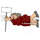 Woman Onto a Blank Sign Pole While Being Blown Around in a Severe Tropical Wind Storm Clipart © Dennis Cox #5245