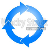 Blue Circle of Arrows Turning Clockwise Clip Art © djart #5248