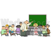 Teacher & Elementary Students in Classroom Clipart © Dennis Cox #5251