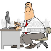 Man Typing On a Computer Keyboard In His Office at Work Clipart © djart #5252