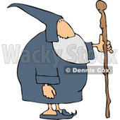 Old Wizard with Wooden Staff Clipart © djart #5253