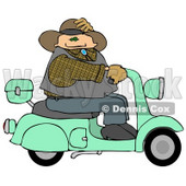 Cowboy Test Driving New Fuel Efficient Scooter Clipart © djart #5254