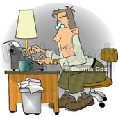 Busy Man Typing On a Typwriter In His Office at a Publishing Firm Clipart © djart #5255