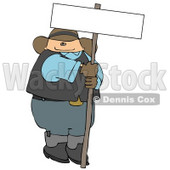 Fat Cowboy Holding a Blank Sign Clipart Illustration © Dennis Cox #5256