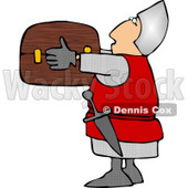 Soldier Carrying a Wooden Treasure Chest Clipart Illustration © djart #5259