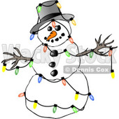 Winter Snowman Decorated with Colorful Christmas Tree Lights Clipart Illustration © Dennis Cox #5260
