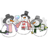 Three Snowmen Partying Clipart Illustration © djart #5261