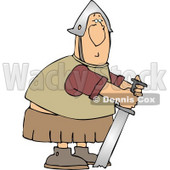 Humorous Roman Soldier Trying to Pull His Stuck Sword from Ground Clipart © djart #5262