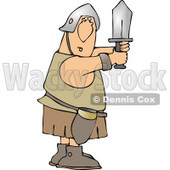 Goofy Roman Soldier Fighting with Sword Clipart © Dennis Cox #5264