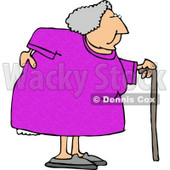 Obese Elderly Woman Walking On a Cane with a Painful Back Clipart © djart #5266