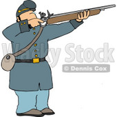 Male Military Union Soldier Aiming Rifle Clipart Illustration © Dennis Cox #5268