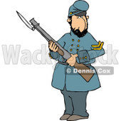 Old Union Soldier Man Armed with a Rifle and Bayonet Clipart Illustration © djart #5269