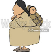 North American Indian Woman Carrying Papoose Clipart Illustration © Dennis Cox #5270