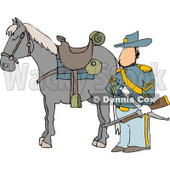 Armed Union Soldier Standing Beside His Horse Clipart Illustration © Dennis Cox #5470