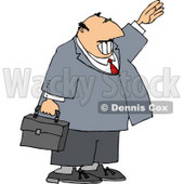 Smiling Businessman Waving Hello or Goodbye Clipart Illustration © djart #5471