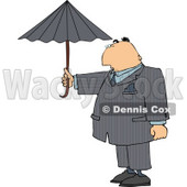 Businessman Standing Outside Under an Umbrella in Rainy Weather Clipart Illustration © djart #5472
