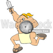 Muscular Warrior Charging to Battle with a Sword and Shield Clipart Illustration © Dennis Cox #5474