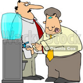 Boss Keeping a Close Eye On an Employee Filling His Cup with Water Clipart Illustration © djart #5475