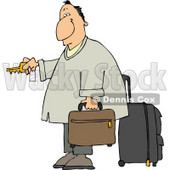 Weary Traveler Businessman Checking Into a Hotel Clipart Illustration © djart #5476